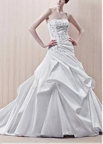 Gorgeous Satin A-line Strapless Beaded Lace Appliques Boidce Pick-up Wedding Dress #Dressilyme