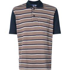 Junya Watanabe Comme Des Garçons Man striped polo shirt (710 AUD) ❤ liked on Polyvore featuring men's fashion, men's clothing, men's shirts, men's polos, blue, men's cotton polo shirts, mens stripe shirts, mens cotton shirts, mens blue shirt and mens striped shirt