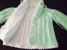 lace baby jacket knit with crochet accents from asian magazine found in russian site httpwwwliveinternetruusersbaby charts included - PIPicStats Baby Knitting Patterns, Baby Cardigan Knitting Pattern Free, Knitting For Kids, Crochet For Kids, Knitting Designs, Baby Patterns, Crochet Pattern, Knitted Baby Clothes, Crochet Clothes
