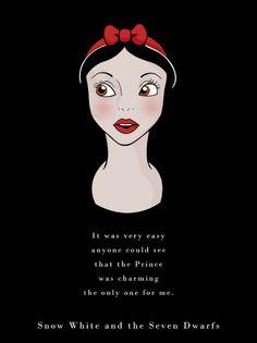 O ilustrador Ben Harman criou uma série de ilustrações, que traz as princesas e as vilãs da Disney com as frases ditas na sua história. Eu amei demais essas ilustras, porque tudo ficou extremamente fofo e criativo. Eu adorei todas as princesas e vilãs, mas as frases da Alice e da Rainha Má