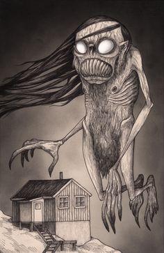 Artwork by John Kenn Mortensen Creepy Drawings, Dark Art Drawings, Monster Art, Arte Horror, Horror Art, Don Kenn, Post It Art, Horror Drawing, Images Gif