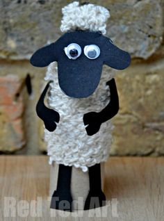 Shaun the Sheep! Made from a toilet paper roll core. Could be used for Valentine's Day (with a cute heart and a message), Easter, or just Spring in general. http://www.redtedart.com/2015/01/27/tp-roll-shaun-sheep-craft/