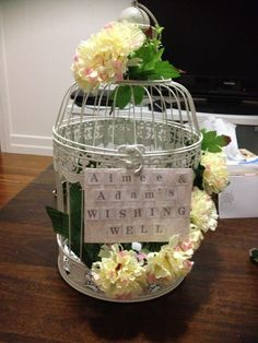Bird cage wishing well that I created for my engagement party Wedding Reception At Home, Diy Wedding, Wedding Ideas, Wishing Well, Bird Cage, Receptions, Home Improvement, Wellness, Engagement