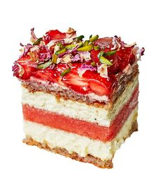 It's all about BLACK STAR'S WATERMELON CAKE, easily one of Sydney's most beautiful desserts (you'll find the recipe and our video on its cult status here). It comprises tiers of watermelon, almond dacquoise and rose-scented cream, with a sprinkling of Iranian pistachios and local strawberries. Sydney's cult sweets.