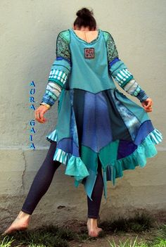 """AuraGaia ~ Upcycled Wearable Art Tunic featuring artwork by the amazing Josephine Wall. cotton jersey knits in a plethora of blues and greens. """"Spirit of Flight""""...fits S-M"""