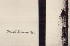 Detail of Barnett Newman's signature on Third Station (1960), from Barnett Newman (Philadelphia Museum). Barnett Newman (29 de enero de 1905 - 4 de julio de 1970) fue un pintor estadounidense al que se relaciona con el expresionismo abstracto y un destacado exponente de la pintura de campos de color (color-field painting). Newman también explotó el impacto que causaba el tamaño de los cuadros, rebasando el campo de visión del espectador.