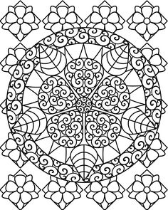 Mandala With A Growing Flower Coloring Pages