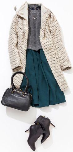 ふだん服を少しフォーマルにアップグレード! ふだんのスタイルにプチアイディアをプラスして、華やかシーンでも堂々と。ルミネ有楽町のアイテムを使ってひと工夫あるコーデをご紹介します。