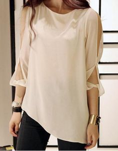 Stylish Round Neck 3/4 Sleeve Solid Color Chiffon Off-The-Shoulder Women's Blouse