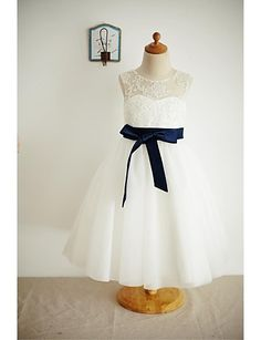 A-line Tea-length Flower Girl Dress - Lace / Tulle Sleeveless Scoop with 2016 - $83.39