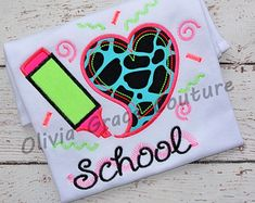 I Love School, Neon Colored Back to School Embroidered Shirt