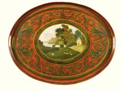A Regency oval red Tôle tray, on a later red japanned table with central painted panel with pastural landscape surrounded by a foliate border high, wide, deep. Painted Trays, Gold Ornaments, Tole Painting, Paper Mache, Chinoiserie, Impressionist, Screens, Art Inspo, Painted Furniture