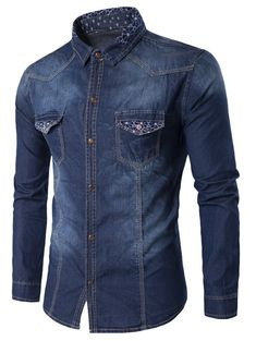 GAMISS for MEN - Turndown Collar Geometric Print Pockets Denim Shirt