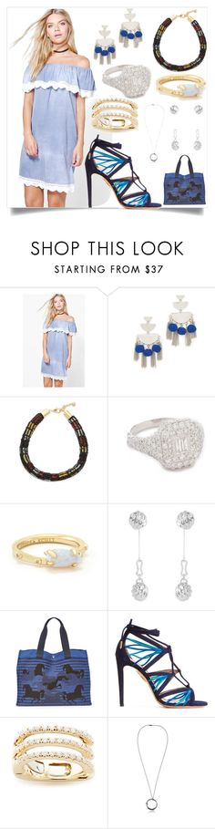 """Denim Dress..."" by camry-brynn ❤ liked on Polyvore featuring Boohoo, Rebecca Minkoff, Lulu Frost, Shay, Kendra Scott, Balenciaga, Aquazzura, EF Collection and Henson"