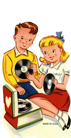 """""""Happy Valentine's Day """" card....Playing records on a ❤️Record Player."""