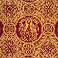 Stunning replicas of historical textiles: Silk Damask Medallion, Wine Red