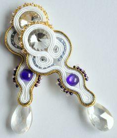 Swarovski, Svarowski, Svarovski, purple, white, gold, silver, kryształ, crystal, clear, elegant, violet, kolczyki, wiszace, sutasz, soutache, handmade, earrings,