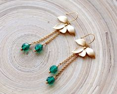Gold Orchid Flower Earrings #Emerald Crystals by @EverywhereUR, $22.00