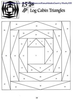 Log Cabin Triangles --- different . gonna try this . more paper piecing patterns. Just keep clicking. Log Cabin Patchwork, Patchwork Quilt, Log Cabin Quilt Pattern, Paper Pieced Quilt Patterns, Barn Quilt Patterns, Log Cabin Quilts, Log Cabins, Quilting Tips, Quilting Designs