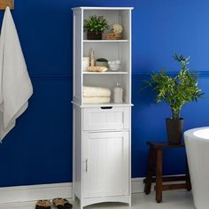 VonHaus Bathroom Storage W x 60 H Cabinet Bathroom Cabinets, Bathroom Storage, Small Bathroom, Master Bathroom, Bathroom Ideas, Cabinet Shelving, Tall Cabinet Storage, Home Improvement Tv Show, Classic Bathroom