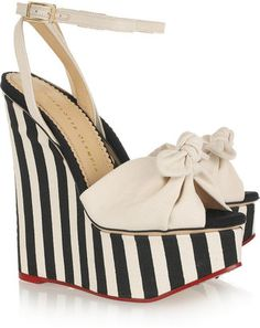 ShopStyle: Charlotte Olympia Meredith striped canvas wedge sandals