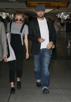 Joshua Jackson and Diane Kruger departing on a flight at LAX airport in Los Angeles, California on May 1, 2014.