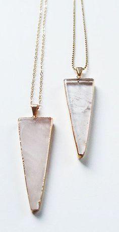 Rose Quartz Triangle Gold Necklace