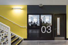 Atrium Studio is part of the Ashburton Studio School, a new school set within the campus of South Dartmoor Community College. The vision for Atrium Studio al. Door Signage, Wayfinding Signage, Signage Design, Visual Merchandising, Glass Film Design, School Signage, Uk Retail, Environmental Graphic Design, Branding