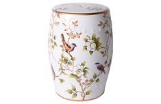 Crafted of high-fired porcelain for exceptional durability, this versatile garden stool is glazed in white with colorful designs rendered in incredible detail. Suitable for indoor and outdoor use. White Indoor Furniture, Oriental Furniture, Ceramic Stool, Ceramic Garden Stools, Ceramic Elephant, Elephant Logo, Atlanta Apartments, Glazing Furniture, Pumpkin Garden