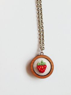 The Strawberry . Hand Embroidery (necklace) in Cherry Wood by GulushThreads, $40.00