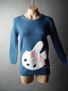 Sweet Fuzzy Furry Bunny Rabbit Applique Jumper Pullover Soft Knit 13 MV Sweater | eBay $28.98