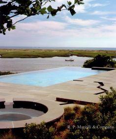 Infinity edge pool, spa, runnel, bluestone terrace - Stephen Stimson Landscape Architect