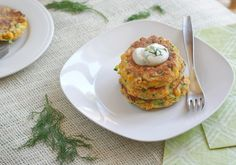 Vegan and Gluten Free Recipes: Zucchini Corn Fritters with Dilled Cashew Sour Cream