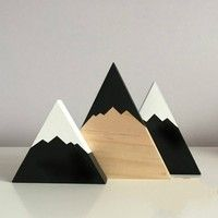 Nursery Decor Home Decor Painted Wooden Mountains Set with pine mountain feature kids decor Scandinavian decor baby gift - custom made Easy Home Decor, Kids Decor, Cheap Home Decor, Decor Ideas, Baby Decor, 31 Ideas, Baby Boy Nursery Room Ideas, Nursery Decor, Baby Room