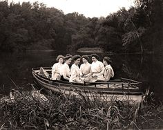 Group of ladies enjoying the day on the river. (1896 - 1912) Source ""