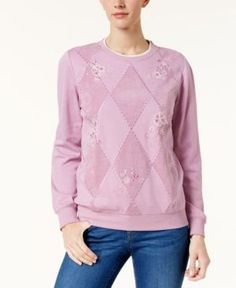 Alfred Dunner Winter Garden Petite Diamond-Pattern Embroidered Top - Pink PXL