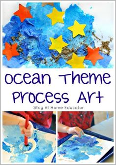 Ocean Art for Toddlers and Preschoolers - Process Art 👉🏽👉🏽Do you like these Nature Crafts Ideas? me for more Nature DIY projects For Teens inspiration?Ocean Art for Toddlers and Preschoolers - Process Art Process Art Preschool, Preschool Art Projects, Toddler Art Projects, Preschool Crafts, Projects For Kids, Preschool Activities, Vocabulary Activities, Beach Theme Preschool, Water Activities