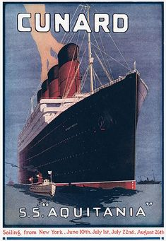 Cunard, c. 1916 - My father-in-law came home from a trip to Finland with his mother on this ship in 1927