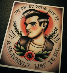 Morrissey Tattoo Flash Print. Once again with someone else in there.