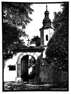 """""""Krakow"""" linocut by Katarzyna Cyganik. http://www.linoart.eu/. Tags: Linocut, Cut, Print, Linoleum, Lino, Carving, Block, Woodcut, Helen Elstone, City, Buildings, Architecture, Trees."""