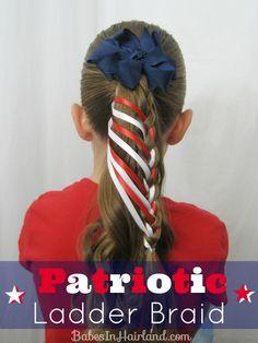Patriotic Ladder Braid from BabesInHairland.com #4thofjuly #hairstyle #ladderbraid #ribbon #braid