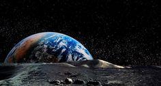 Photo composite of Earth rising above the lunar horizon