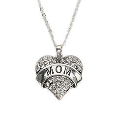 Mom Pave Heart Charm Necklace @ Inspired Silver