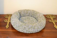 Crochet Pet Bed for Cat or Small Dog Neutral by LittlestSister, $45.00