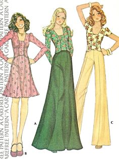 1970s Retro Ruched Top, Mini or Maxi Skirt Wide Leg High Waist Pants Pattern McCalls 4223 Vintage Sewing Pattern Size 8