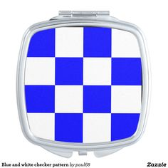 Blue and white checker pattern compact mirror