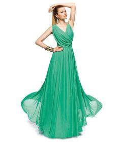 vestido griego turquesa escote