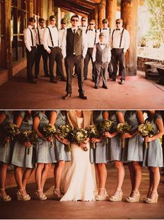 Love everything about this.. bow ties, suspenders, groom only one in the vest, girls wearing wedges.. Dresses would be pink instead of grey!