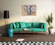 Elephant in the room! Meer informatie vind je online. Interieur | Schilderijen | Wonen | Interieurideeen | Interieur woonkamer | Decoratie | Woondecoratie | Schilderij woonkamer | Schilderijen abstract | Dieren | Dierenschilderijen | Vrolijke schilderijen