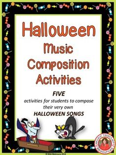 HALLOWEEN MUSIC COMPOSITION ACTIVITIESThis resource is FREE for ONE week to celebrate my TpT milestone!*****Updated and a 5th composition activity added on 8th September 2015. Both color and b/w versions contained in this file******Have your students compose and perform their very own songs for HALLOWEEN!!